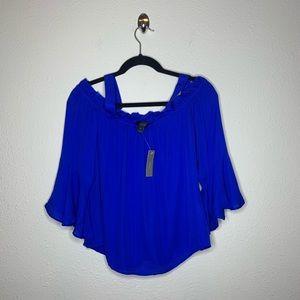 J. Crew Blue Silk Ruffle Silk Cold Shoulder Blouse